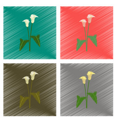 Assembly flat shading style flower calla vector