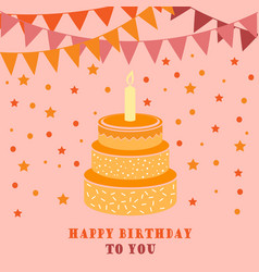 Birthday card with cake and flags vector
