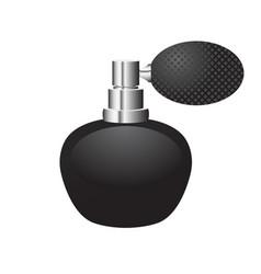 Black bottle of perfume with sprayer rubber bulb vector