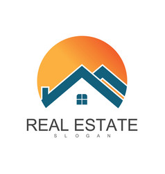 circle roof real estate logo vector image