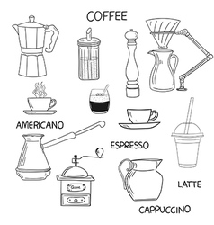 Coffee doodle collection hand drawn vector