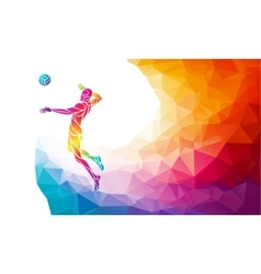 Color silhouette of volleyball player on attack vector
