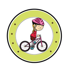 Cute little girl character in bicycle vector