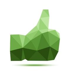Dark green geometric triangular polygonal thumb up vector