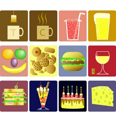 drink and snack icons vector image vector image