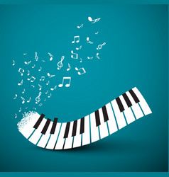 Flying notes with abstract piano keyboard music vector