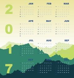 Green mountain view of 2017 calendar vector