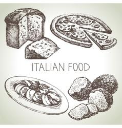 Hand drawn sketch Italian food set vector image