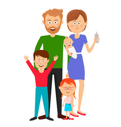 happy family standing over white background vector image vector image