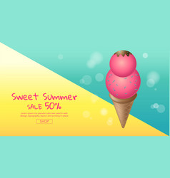 hot summer sale cartoon colorful ice cream vector image vector image