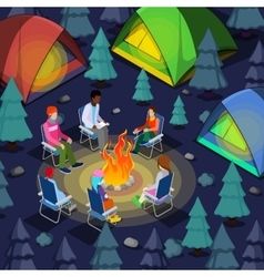 Isometric people sitting near camping bonfire vector