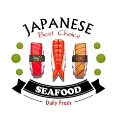 Japanese seafood restaurant and sushi bar sign vector