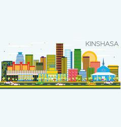 Kinshasa skyline with color buildings and blue sky vector