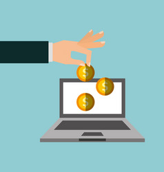 Laptop computer with coins vector