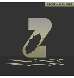 Letter z broken mirror vector