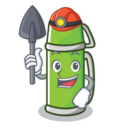 Miner thermos character cartoon style vector