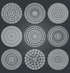 monochromatic ethnic round textures vector image vector image