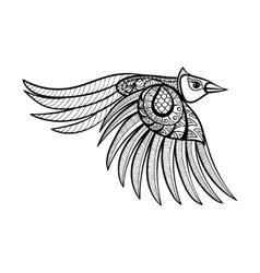 ornamental flying bird ethnic zentangled vector image