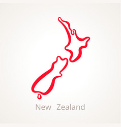 Outline map of new zealand marked with red line vector