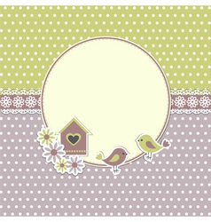 Round retro frame with birds vector image vector image
