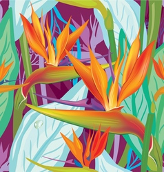 Seamless floral pattern with strelitzia vector