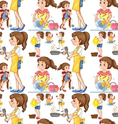 Seamless housewife doing chores vector
