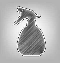 Spray bottle for cleaning sign pencil vector