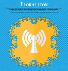 Wi-fi internet floral flat design on a blue vector