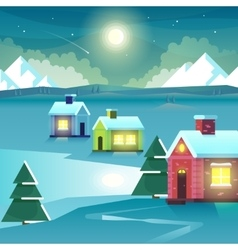 Winter night mountains and houses vector