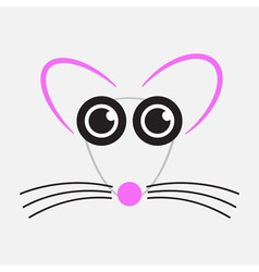 Drawing mouse - pink black and gray vector