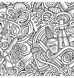 Cartoon doodles Manicure seamless pattern vector image