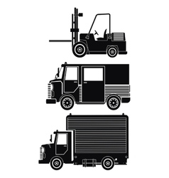 silhouette collection truck forklift cargo vector image