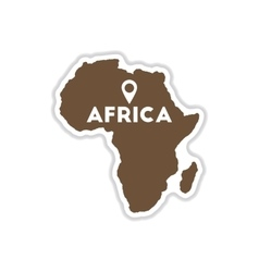 Paper sticker on white background africa map vector