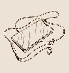 Sketch smart phone with headphones and vector