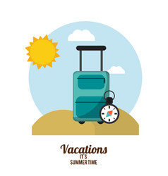 vacations summer time suitcase with compass beach vector image