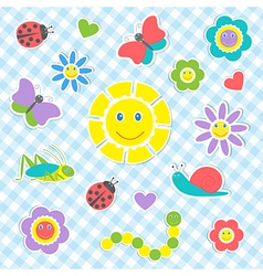 Cute insects and flowers vector