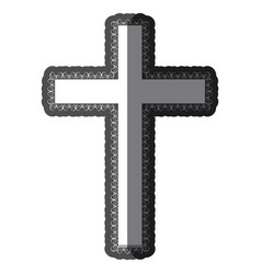 Monochrome shading silhouette wooden cross with vector