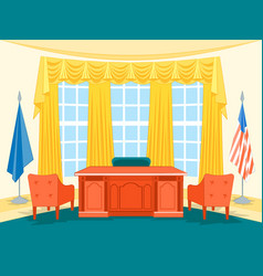 Cartoon interior president government office with vector