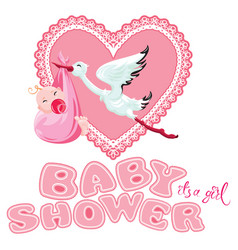 Baby shower card invitation etc stork with vector