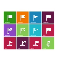 Flag icons on color background vector