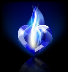 Flaming blue heart crystal vector