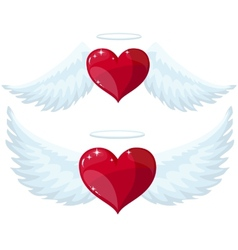 Angel heart with wings vector