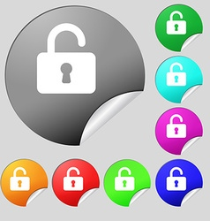 Open padlock icon sign set of eight multi-colored vector