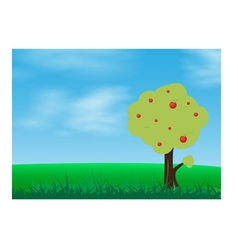 Green grass in a blue sky with tree vector