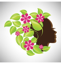 Woman in profile with colorful floral hair vector