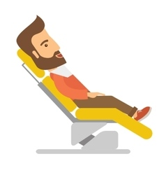 Man lying in dentist chair vector