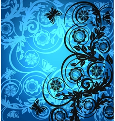 floral ornament with butterfly vector image