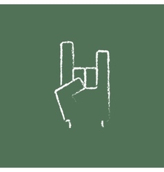Rock and roll hand sign icon drawn in chalk vector