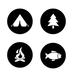 Outdoor picnic black icons set vector