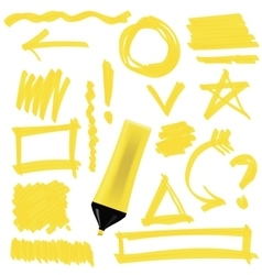 Yellow marker isolated vector